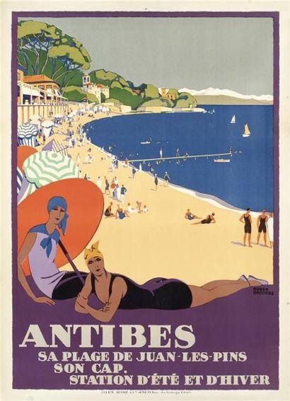 BRODERS Roger. ANTIBES sa plage de Juan-les-Pins...