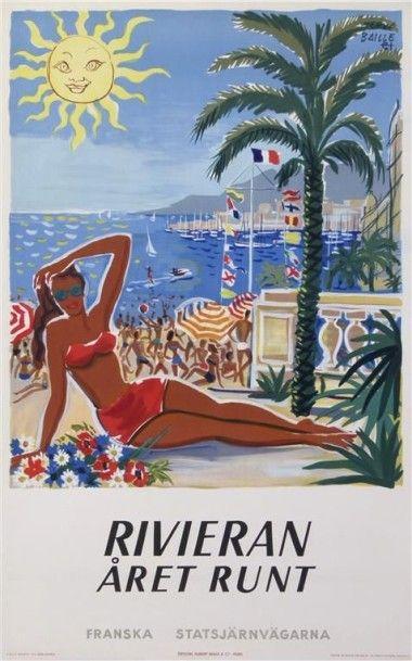 BAILLE Hervé. RIVIERA ARET RUN 1949. Entoilée,...