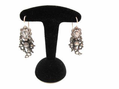 Boucles d'oreilles en or et argent, à décor...