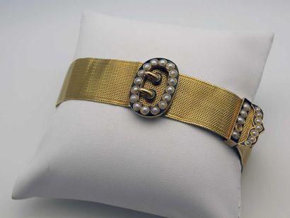Bracelet ceinture Napoléon III en or jaune...