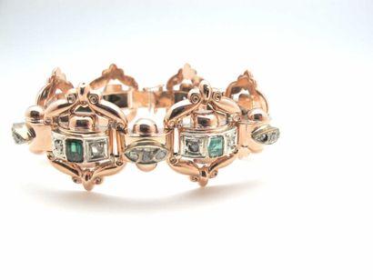 Bracelet en or rose 750°/oo (18 k) et argent,...
