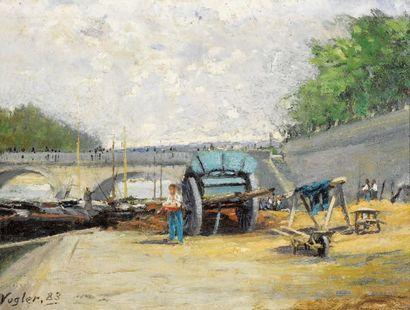VOGLER Paul, (1852-1904) Quai de Seine, 1883