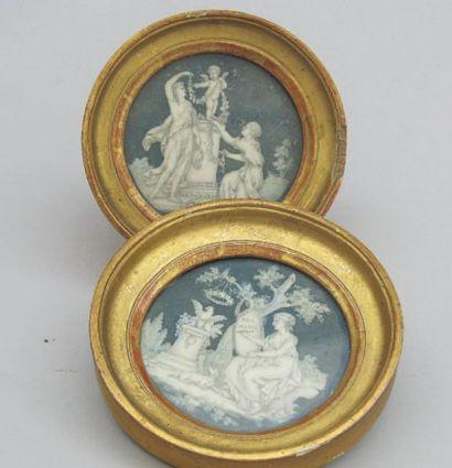 l'amour et l'amitié Deux miniatures rondes...