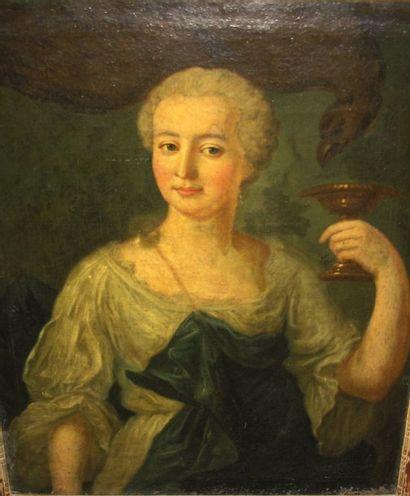 Ecole française du XVIIIe « Femme tenant une coupe et aigle au second plan» Huile...