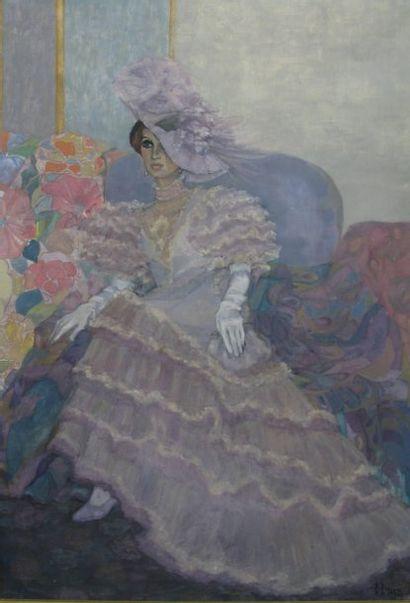 C.CRUZ « Elégante » Huile sur toile signée en bas à droite 81 x 117 cm