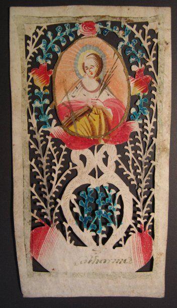 Catharina (Sainte) Canivet sur papier à découpe...