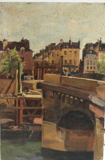 """Attribuée à Saint Yves Bax """" pont de Paris"""" huile sur carton. Dim: 16 x 24 cm"""