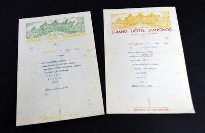 Grand Hôtel d'Angkor. Deux menus des 6 et...