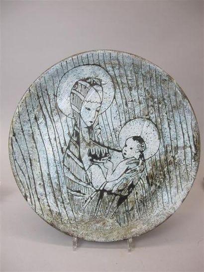 SIMON Henri (1896-1973) Plat en terre cuite...