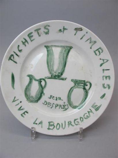 DESPRES Jean (1889-1980) Assiette en porcelaine...