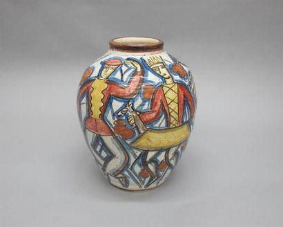 CAZAUX Edouard (1889-1974) Vase ovoïde en...