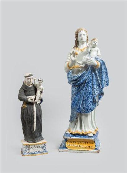 NEVERS. Grande Vierge à l'Enfant en faïence...