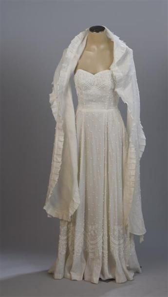 CARVEN Haute Couture attribué. Robe longue...