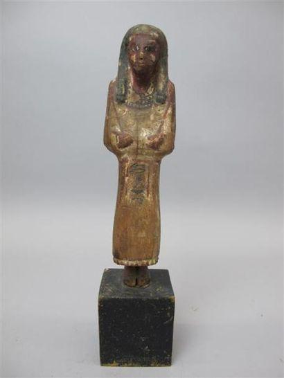 EGYPTE. Statuette en bois polychrome. Hauteur:...