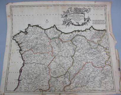 Carte réhaussée et découpée du XVIIIe siècle,...