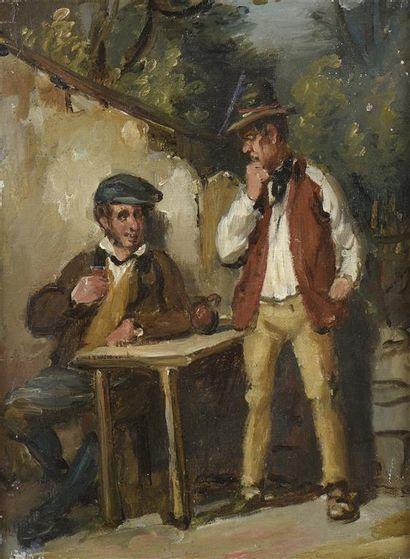 Ecole du XXe siècle. Deux personnages attablés....