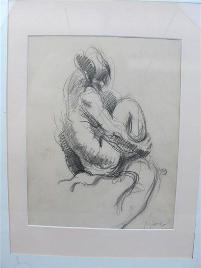 Jean AUJAME (1905-1965). Nue. Dessin au crayon...