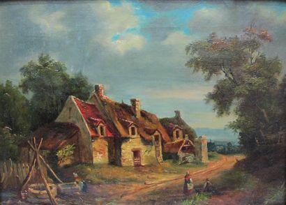 Scène de village animé , huile sur toile....