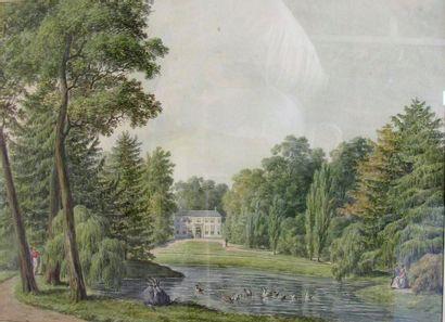 Ecole du XIXe siècle. Demeure dans un parc...