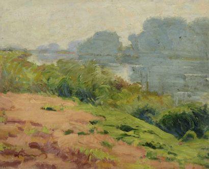 LAUVRAY (1870-1950) . Les berges. Huile sur...