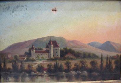 Ecole française du XIX°Siècle. Chateau au...