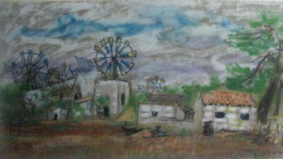 CHERIX Jacques XXeS. Village aux éoliennes....