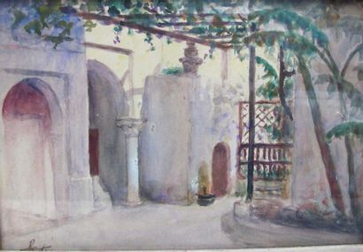 Joseph SINTES (1829-1913). Cour intérieure....