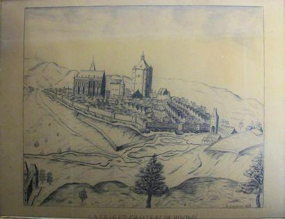 Ville et château de Houdan. Dessin au crayon...
