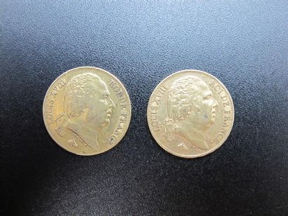 Deux monnaies de 20 Francs or, Louis XVIII....
