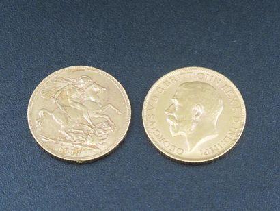 Deux monnaies en or, Souverains, Edouard...