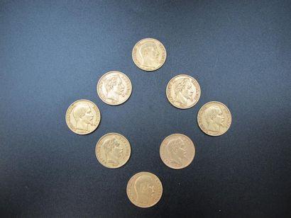 Huit monnaies de 20 Francs or, Napoléon III,...