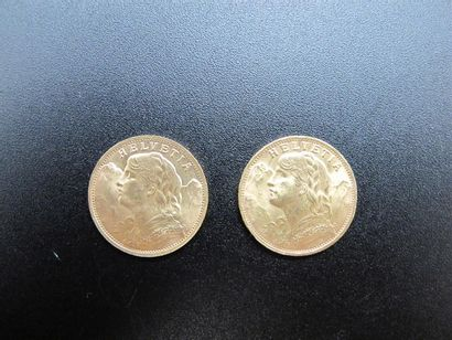 Deux monnaies de 20 Francs or, Croix Suisse,...