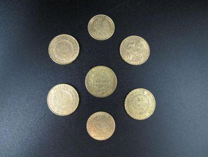Cinq monnaies de 20 Francs or, années 1851,...