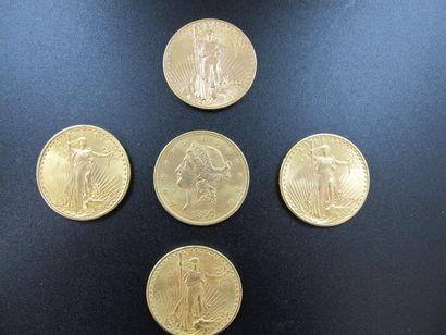 Cinq monnaies en or de 20 Dollars, Etats-Unis,...