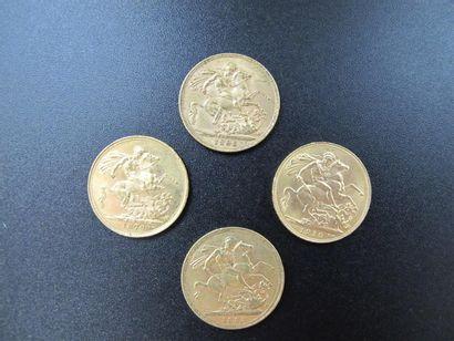 Quatre monnaies en or, Souverains, Reine...