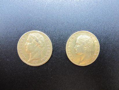 Deux monnaies de 20 Francs or, Napoléon Empereur,...