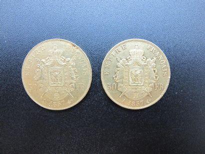Deux monnaies de 50 Francs or, Napoléon III...