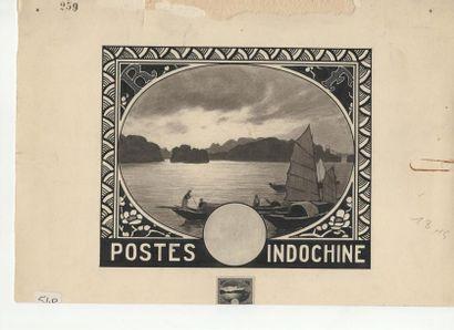 Postes Indochine 1931. Dessin au lavis d'encre...