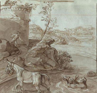 Ecole française du XVIIIème siècle. L'âne...