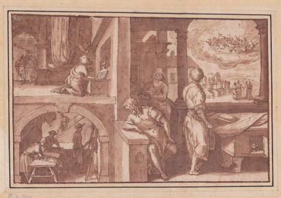 Ecole flamande du XVIIème siècle. Scènes...