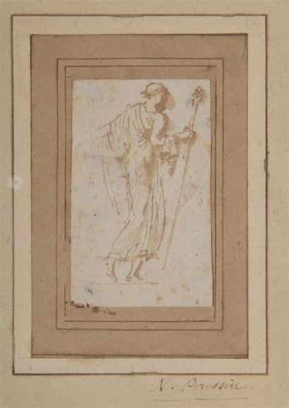 Nicolas POUSSIN (1594-1665). Bacchante marchant tenant un thyrse. Plume et lavis...