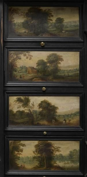 Cabinet flamand du XVIIème siècle, en bois de placage teinté noir à décor de panneaux...