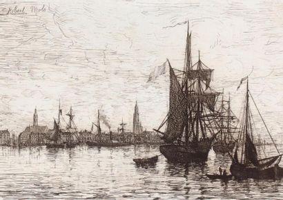 Robert MOLS (1848 1903) Rade d'Anvers Eau-forte....