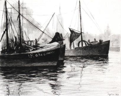 DE GORCE (XXe) La Rochelle. Gravure signée...