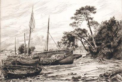 André DAUCHEZ (1870 1948) Barques échouées....