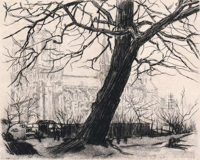Emile DE GORCE (XXe) Vue de Notre Dame. 1927....