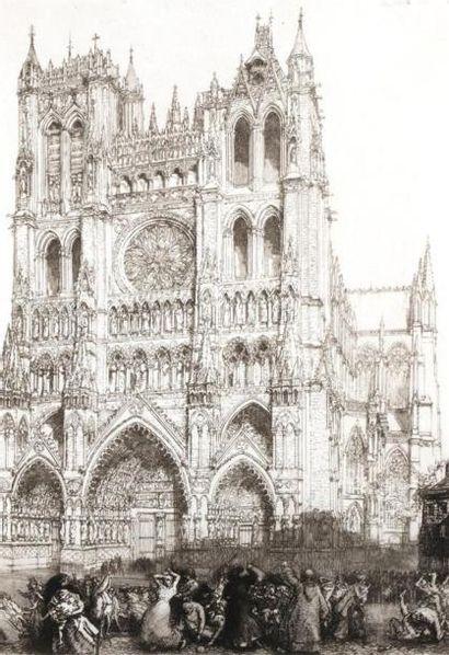 Auguste LEPERE (1849 1918) Cathédrale d'Amiens....