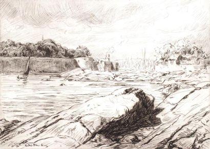André DAUCHEZ (1870 1948) Entrée d'un port....