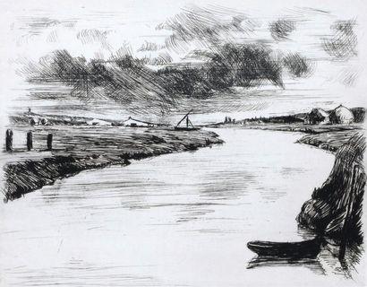 Emile DE GORCE (XXe) Paysage de Vendée. Gravure...