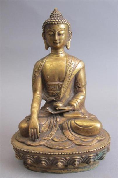 CHINE - XXe siècle Statuette en alliage cuivreux,...
